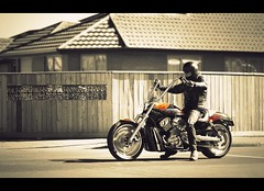 The Biker (SC Edit) (bkiwik) Tags: road street light shadow newzealand blackandwhite orange man guy leather bike yellow digital canon nice alone candid badass bad gang streetphotography machine motorbike harleydavidson nz motorcycle wiseguy anarchy dslr aotearoa harleydavidsonmotorcycles selective motorhead niceguy selectivecolour woolston menacetosociety gangmember steelhorse eos400d