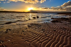Beach Ripple (PeterYoung1) Tags: light sunset sea sun sunlight seascape beach water scotland sand colours scenic scottish sunsets scene lightrays