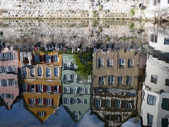 Reflections (Nicote) Tags: old houses people water wall reflections river germany spring sitting wave medieval float neckar tübingen germoney