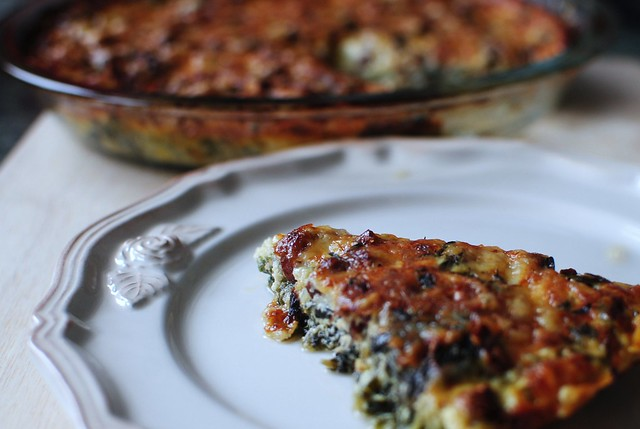 swiss chard & gruyere crustless quiche