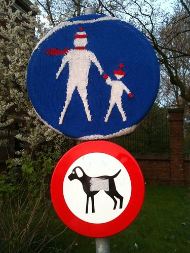 A knitted sign in Westerpark, http://www.flickr.com/photos/classiccopenhagen/5725693485/