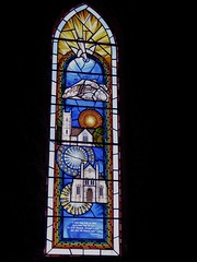 Millennium window, St Nicholas Church, Montgomery (wonky knee) Tags: 2001 uk wales montgomery stnicholaschurch powys georgeherbert millenniumwindow