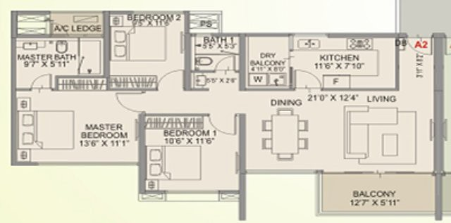 Amanora Aspire Towers 11 - 12: 3 BHK Flat - 1036 sq.ft. Carpet Area