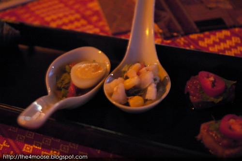 Loy Nava - Ceviche of Quail Egg in Lime, Sugar, Fish Sauce, Cilantro & Onion
