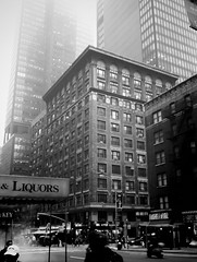 Walking to Ziegfeld theater (Excaliber2013) Tags: new york old white black building rio fog ads movie theatre title liquors incredible ilford android drod