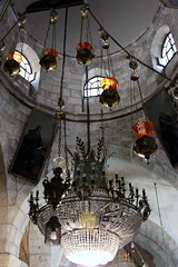 jerusalem chandeliers (3) (kexi) Tags: november windows light red white church yellow vertical canon israel crystal interior jerusalem chandeliers 2009 jerozolima instantfave kartpostal