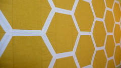 honeycomb table runner (janssendesigns) Tags: yellow gold design pattern handmade bees explore fabric honey quilting hexagons honeycomb hemp tablerunner organiccotton konasnow noondaytextiles