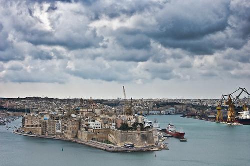 Vistas desde los jardines Barracca en Valletta