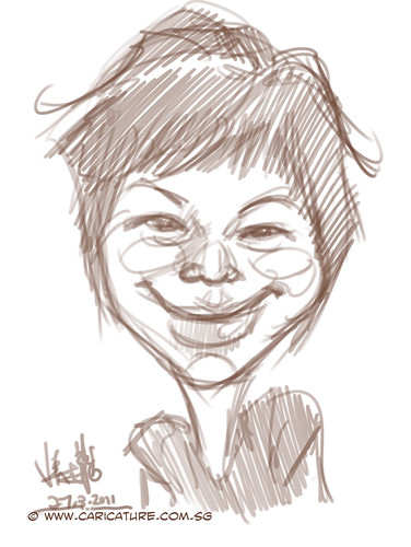 digital caricature sketch of Liu Chia Hui