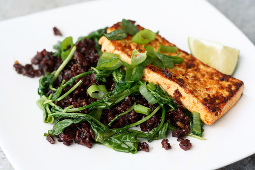 Fried Black Rice With Ginger Tofu and Baby Arugula