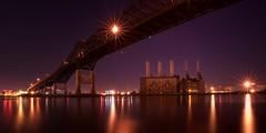 the Pulaski Skyway and power plant (mudpig) Tags: longexposure bridge reflection industry night river geotagged dawn newjersey jerseycity industrial smokestack powerplant hdr pulaskiskyway hackensackriver mudpig stevekelley