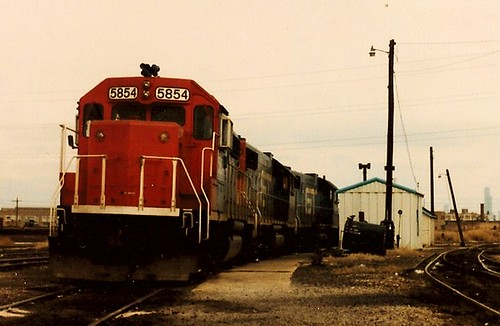 Grand Trunk Western locomotives idling at the former Elsdon Yard site. Chicago Illinois USA. December 1983. by Eddie from Chicago