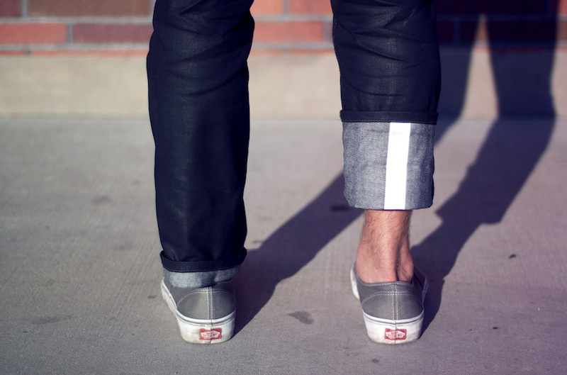DIY reflector strip sewn to pant cuff for bikers