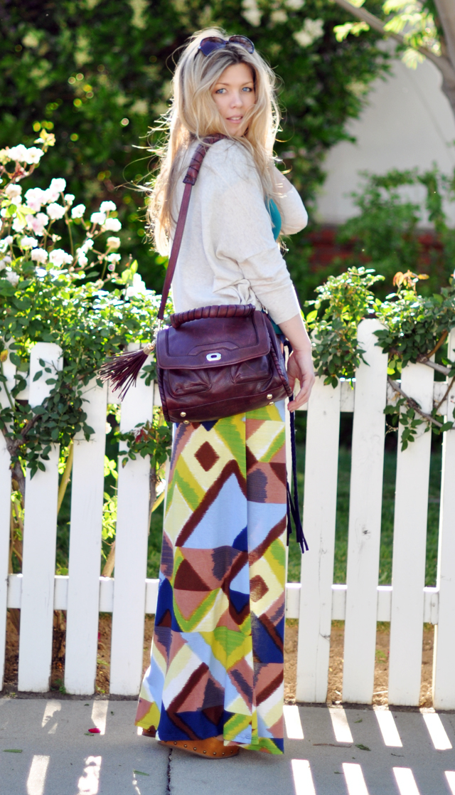 jersey maxi skirt from a maxi dress and cynthia rowley tassel bag