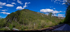 Wills Mountain West of Cumberland, Maryland (Cash Valley Photography & Imaging) Tags: county bridge clouds canon tracks maryland bluesky historic redrock hdr highdynamicrange cumberland lavale allegany westernmaryland thenarrows loversleap locustgrove scenicrailroad csxrailroad marylandstatepark willscreek greatalleghenypassage willsmountain t1i willsmountainstatepark
