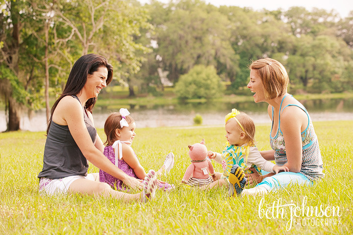 beautiful baby girls with their mamas at the park