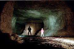 Silhouette + Shadow (Bunk3r) Tags: shadow urban lightpainting film silhouette underground nikon mine long exposure derbyshire limestone f80 exploration quarry urbex middleton lightpaint