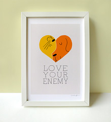 """Love Your Enemy"" Print (ILoveDoodle) Tags: summer dog pets cute love illustration cat print funny arts etsy"