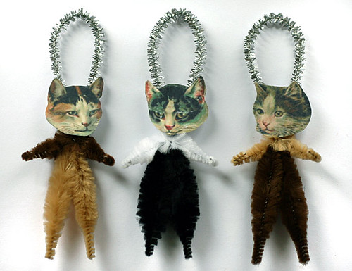 Chenille Calico Cat Ornaments