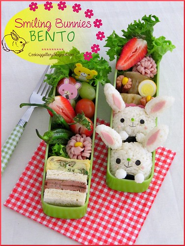 Smiling Bunnie Bento by Cooking-Gallery