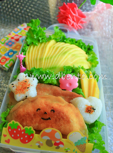 Bento : fried bread and mango