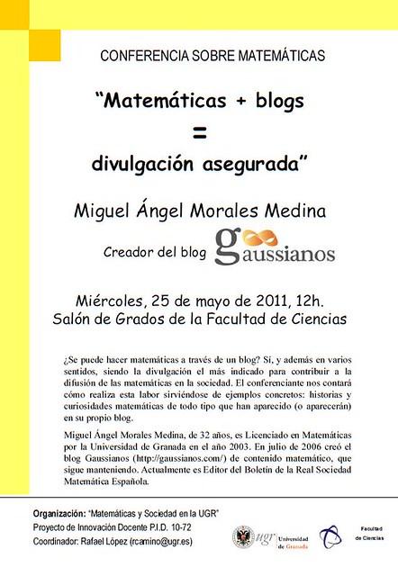 """Conferencia """"Matemáticas + Blogs = Divulgación asegurada"""" en la UGR"""