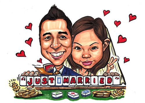 wedding couple caricatures at Mahjong table