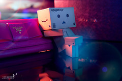 Lazy evening (achew *Bokehmon*) Tags: blue light sunset wallpaper orange evening tv amazon wallet chillin couch prada danbo danboard