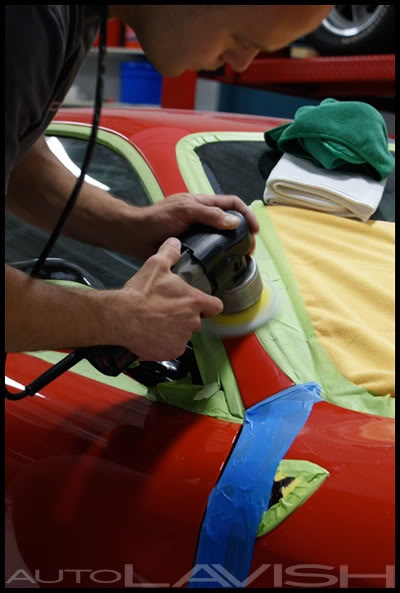 autolavish polishing a pillars on a ferrari 430 scuderia