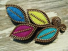 Keeping it simple... (woolly  fabulous) Tags: wool leaves pin purple brooch felt zipper