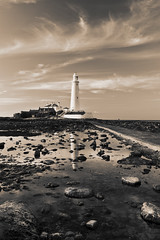 St Mary's 1 (BB Ramone) Tags: sea sky lighthouse beach water clouds reflections newcastle coast sand northeast stmarys whitleybay stmaryslighthouse northtyneside nikond3100