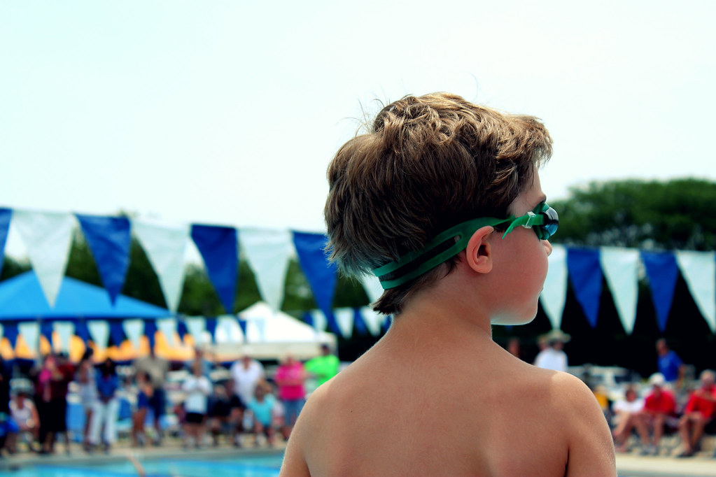 his first swim meet