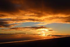 2016_10_03_lhr-ewr_158 (dsearls) Tags: 20161003 lhrewr sunset altittude flying newyork newjersey aerial windowseat windowshot united ual unitedairlines aviation wing airplane boeing boeing767 blue sky orange clouds pink altostratus altocumulus stratus sun