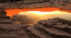 Sunrise through the arch (m i c h e l e j e n s e n [photography]) Tags: canyonlands utah sunrise arch stone rock light daybreak