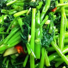 Vegetarian Stir-Fried Morning Glory ผัดผักบุ้งไฟแดงเจ @ Nhà Hàng Con Voi Vàng