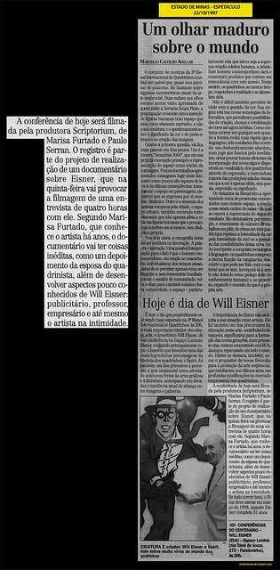 """""""Um olhar maduro sobre o mundo"""" - Estado de Minas - 22/10/1997"""