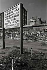 Leaving The American Sector, The Berlin Wall, West Berlin, West Germany, 1989 (Gerald L. Campbell) Tags: blackandwhite bw graffiti blackwhite tmax scenic documentary wallart berlinwall westgermany westberlin contaxrtsii americansector documentaryphotography scenicphotography 4tografie minoltamultiproscanner 50mmcarlzeisslens