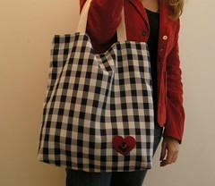 Sacola Deep Heart (tati schmidt) Tags: corao feltro bolsa handbag nautico ncora feminina xadrez sacola azulmarinho bolsointerno tatischmidt deepheart