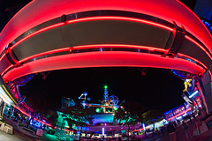Tomorrowland in the round (explore) (CodyWDWfan) Tags: world plaza vacation tower night orlando long exposure neon florida sony magic kingdom disney astro fisheye disneyworld rocket wdw waltdisneyworld walt tomorrowland 8mm magickingdom bower orbiter f35 lakebuenavista a700 samyang rokinon prooptic dslra700 rockettowerplaza
