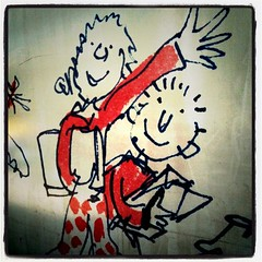 Quentin Blake art on the construction hoardings 