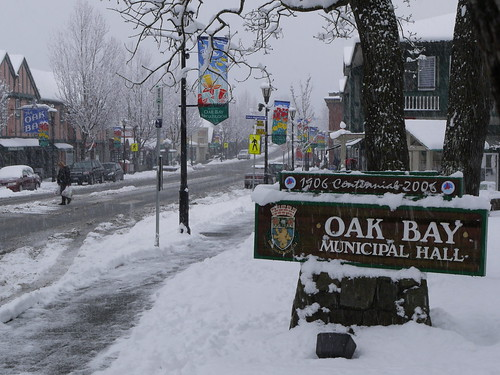 Oak Bay Municipal Hall in the snow