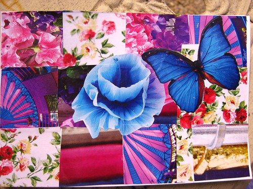 handmade postcard - pink patchwork