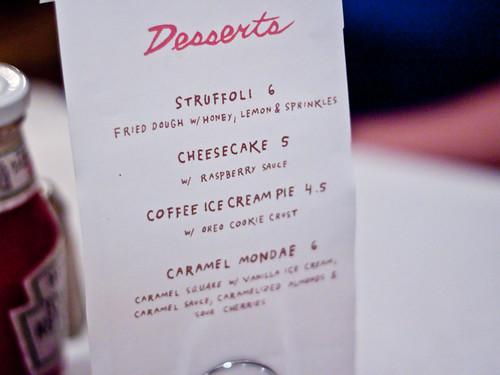 Partial desserts menu