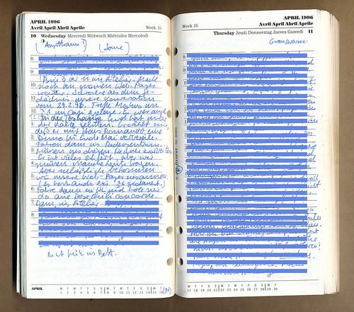 Tagebucheintrag vom 10.4. 1996 der die Einrichtung von Thing Frankfurt im WWW beschreibt.