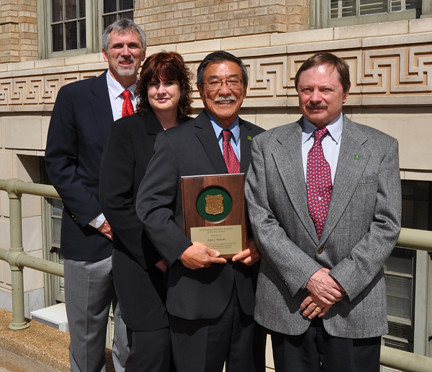 The four U.S. Forest Service recipients of Engineer of the Year awards for 2010, as nominated by their peers, are (from left): Lynn Hicks; Shonni Hanks Nelson, Alan Yamada, and Charles Warren. The recipients were awarded their plaques in a ceremony help Monday, April 4 here in Washington DC. (US Forest Service photo)
