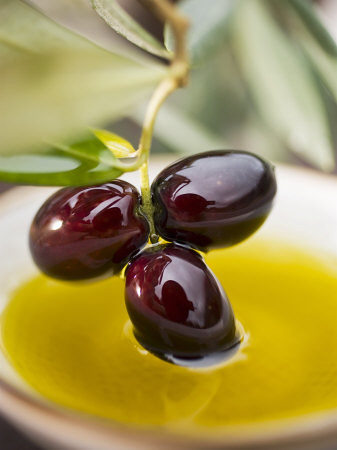dipping-olive-sprig-with-black-olives-in-olive-oil