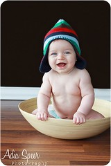 Nolan, 6mo (1) (~Adia Speer Photography ~) Tags: boy baby hat sitting bowl woodenfloor 6months brownwall baseboard bamboobowl