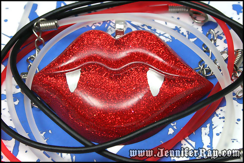 Vampire Bite - Blood Red Lips Necklace by JenniferRay.com