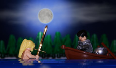 The Lady and the Blade (Catsy [CC]) Tags: lego scene legend forcedperspective excalibur moc ladyofthelake arthurian catsy brickarms flickr:user=catsy lego:scale=mixed
