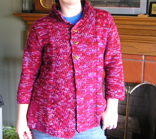 My red and purple cardigan